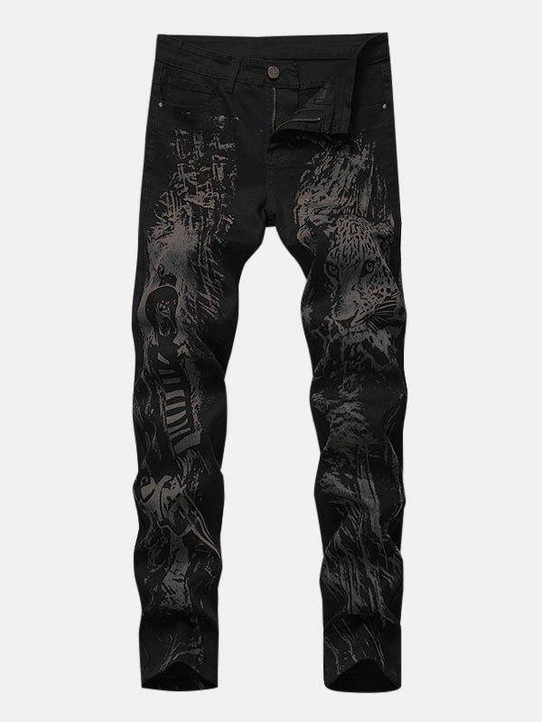 Affordable Hunter Leopard Print Zipper Fly Tapered Jeans