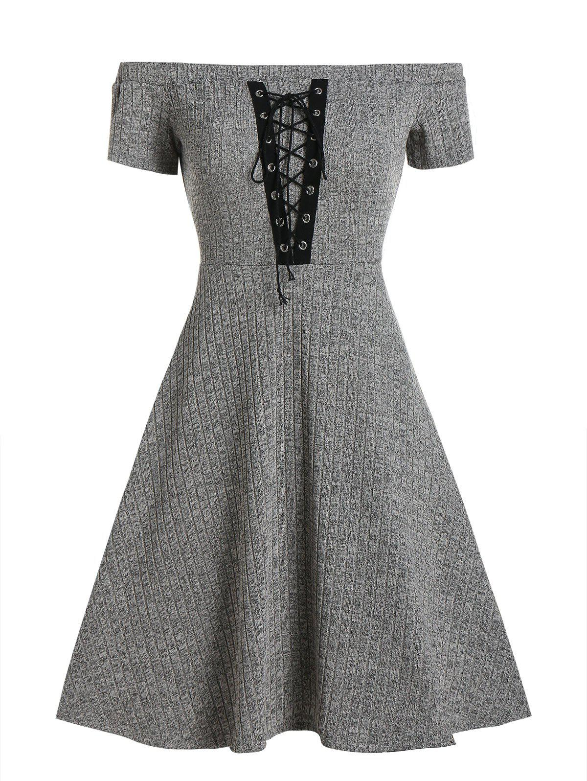 Hot Off Shoulder Lace Up Knitted A Line Dress
