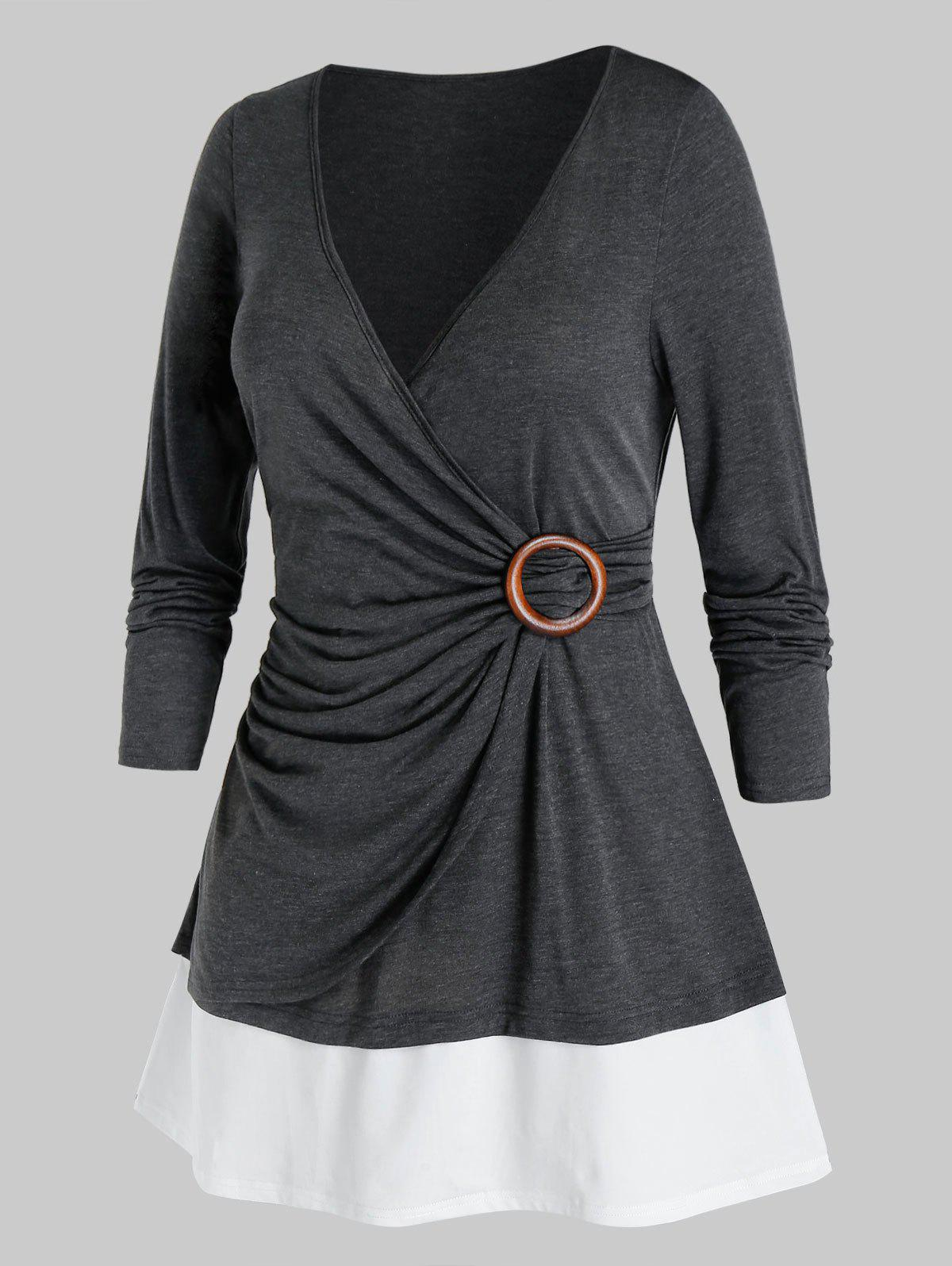 Shop Plus Size Surplice Ruched Two Tone Plunge Tunic Tee