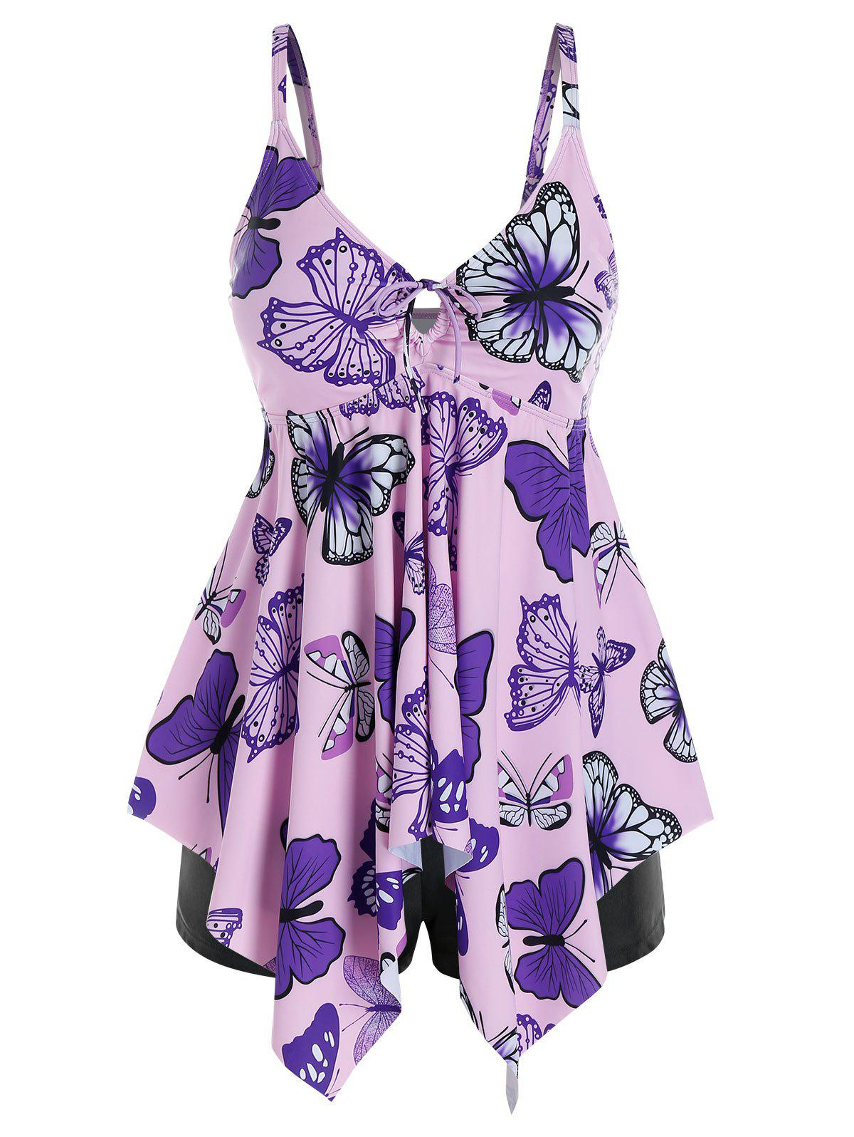 New Plus Size Butterfly Handkerchief Tie Boyshort Tankini Swimwear