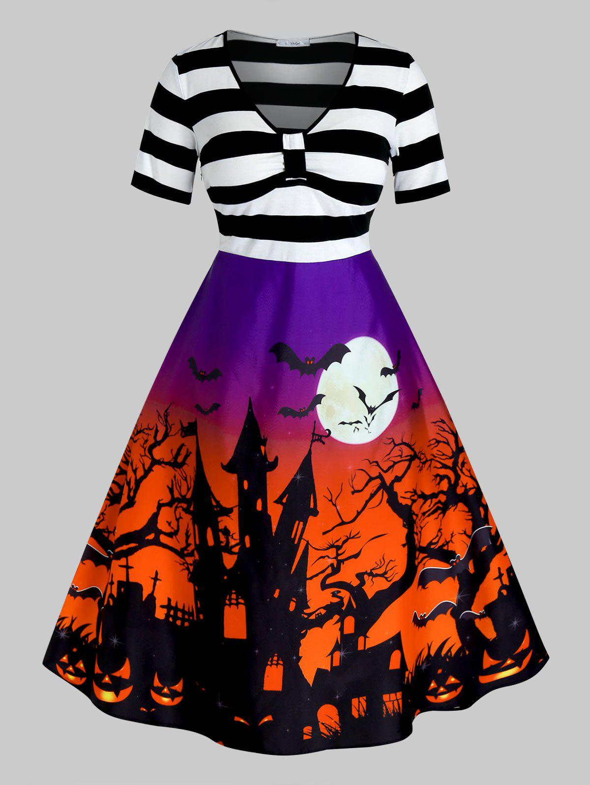 Plus Size Halloween Printed Vintage Pin Up Dress фото