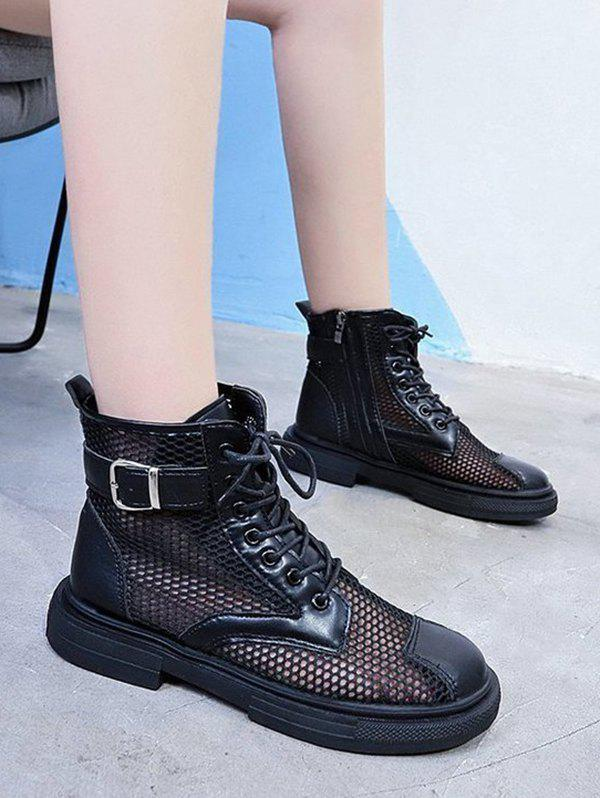 Chic Breathable Mesh Lace Up Ankle Boots
