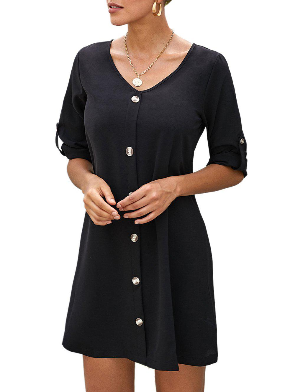New Roll Button Sleeve Button Embellished Mini Dress