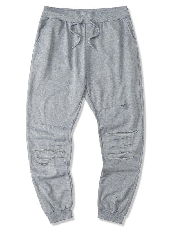 Online Drawstring Ripped Tapered Sweatpants