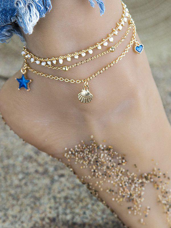 Cheap 3Pcs Shell Star Heart Charm Anklet Set