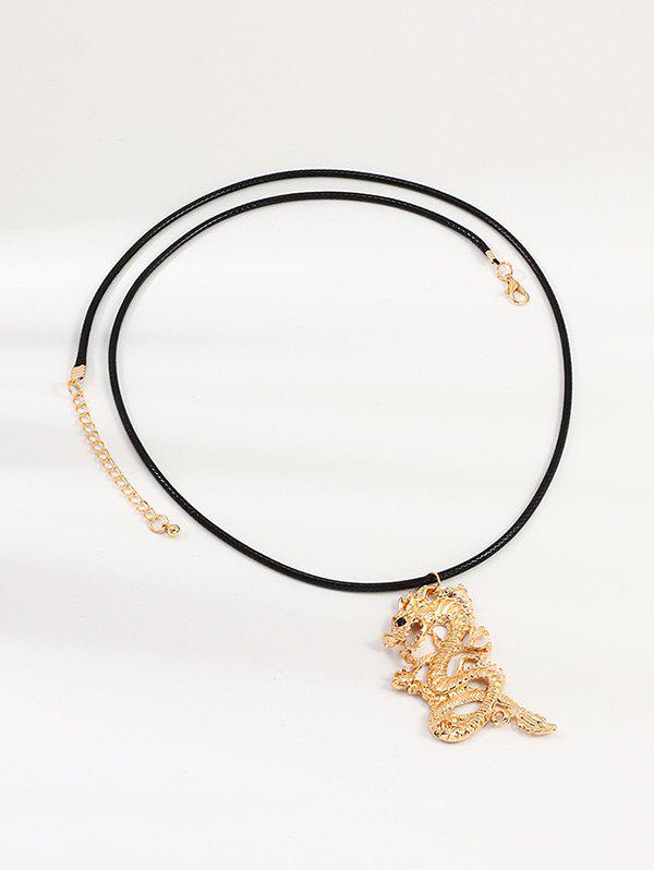 Collier Pendant Dragon Chinois Or