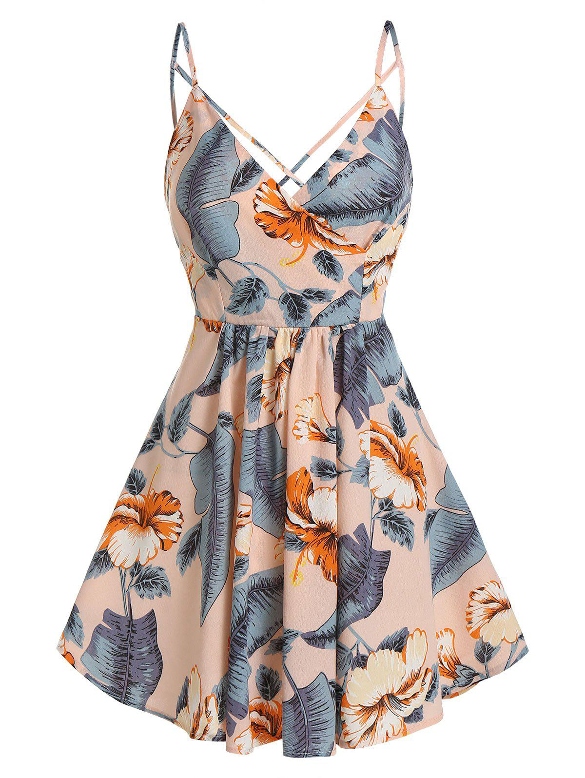 Chic Flower Palm Print Crisscross Back Slip Dress