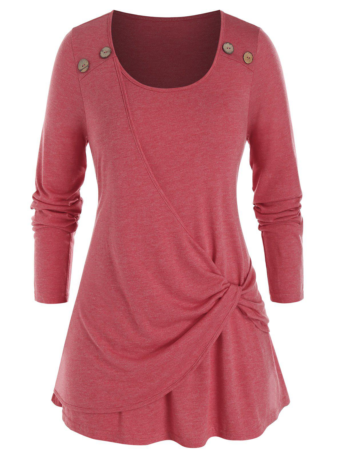 Cheap Plus Size Overlap Twisted Long Sleeve Tunic Tee