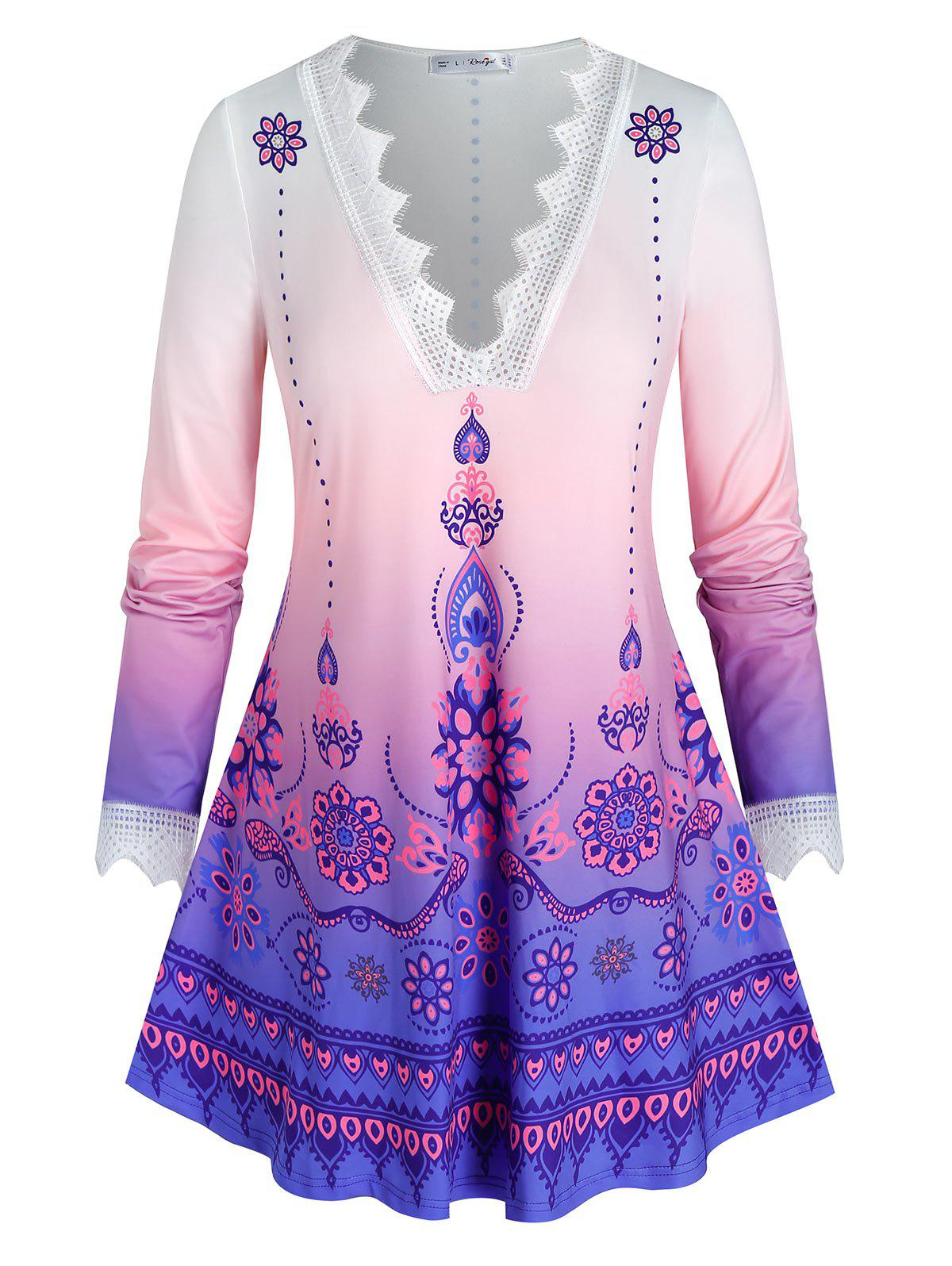 Hot Plus Size Ombre Print Openwork Lace Eyelash Tunic Tee