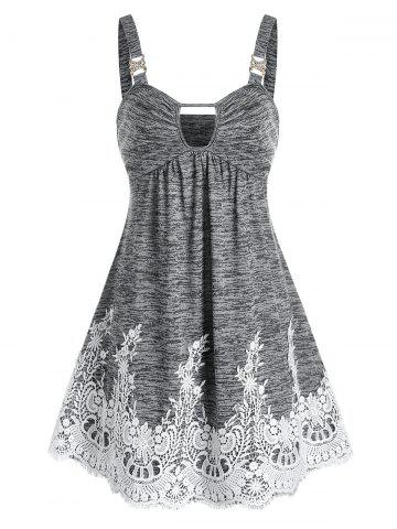 Keyhole Lace Panel Mini Cami Dress