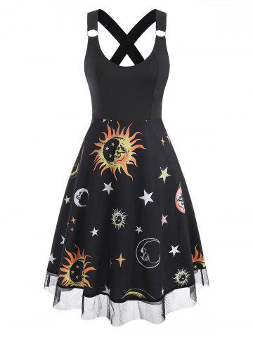 Lace Insert Sun Moon Star Print Criss Cross Dress - DEEP YELLOW - 2XL