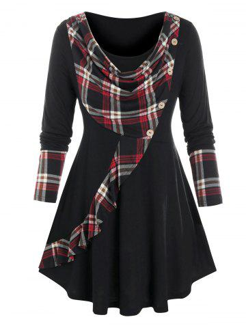 Plus Size Cowl Front Plaid Curved Hem Tunic Tee