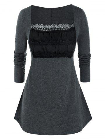 Plus Size Lace Ruched Bust Square Neck Tunic Tee - CARBON GRAY - 2X