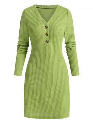 Ribbed Quarter Button Sweater Dress