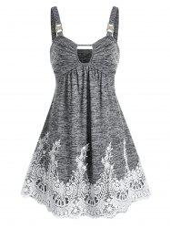 Keyhole Lace Panel Mini Cami Dress -