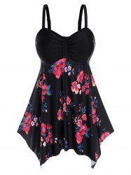 Plus Size Floral Handkerchief Modest Tankini Swimwear -