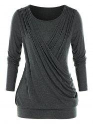 Plus Size Crossover Surplice Ruched Blouson Tunic Tee -