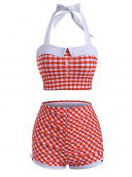 Halter Gingham Ruched Boyshorts Tankini Swimwear -