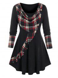 Plus Size Cowl Front Plaid Curved Hem Tunic Tee -