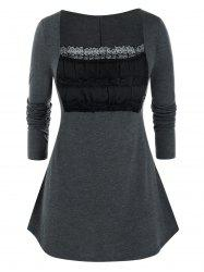 Plus Size Lace Ruched Bust Square Neck Tunic Tee -