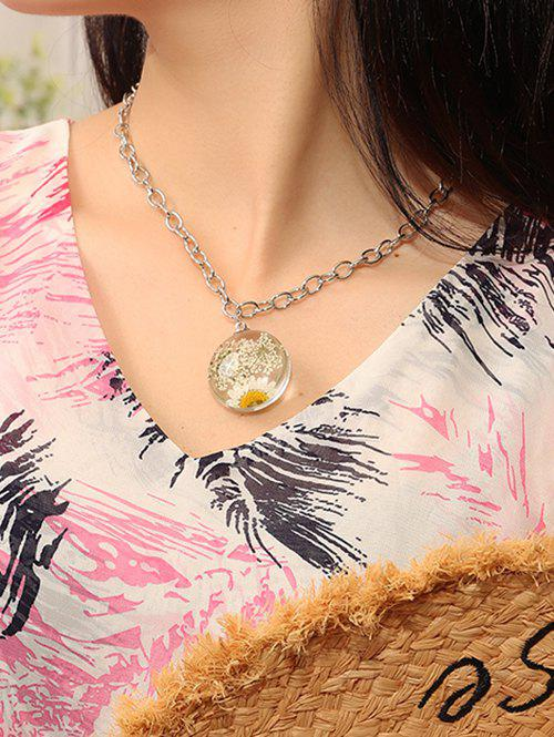 Resin Dried Flower Pendant Chain Necklace, Silver