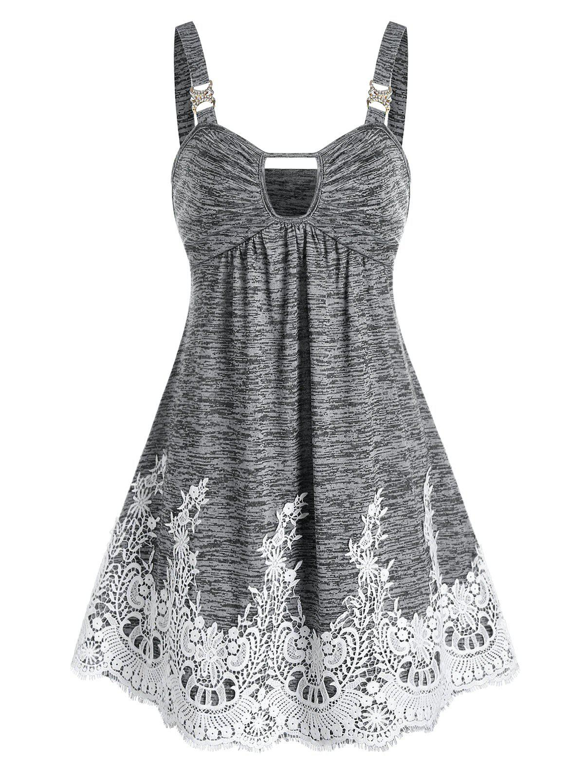 Shops Keyhole Lace Panel Mini Cami Dress