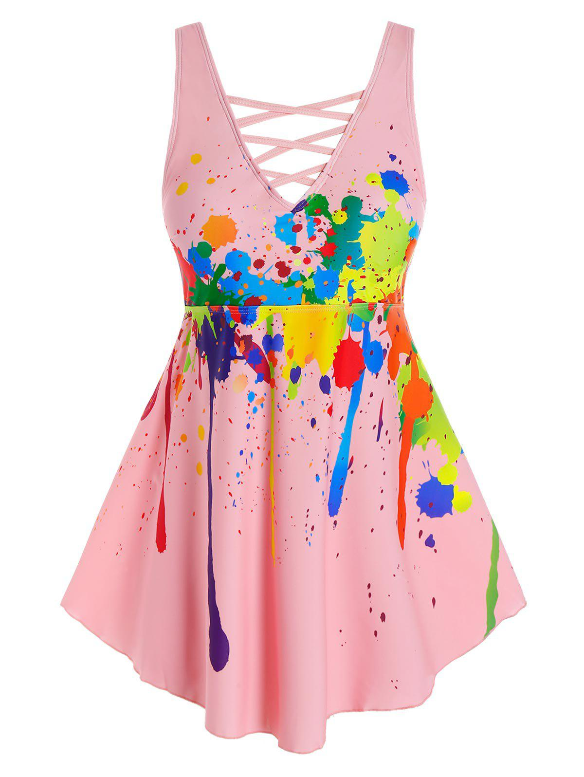 Fashion Plus Size Splatter Paint Criss Cross Boyleg Tankini Swimwear