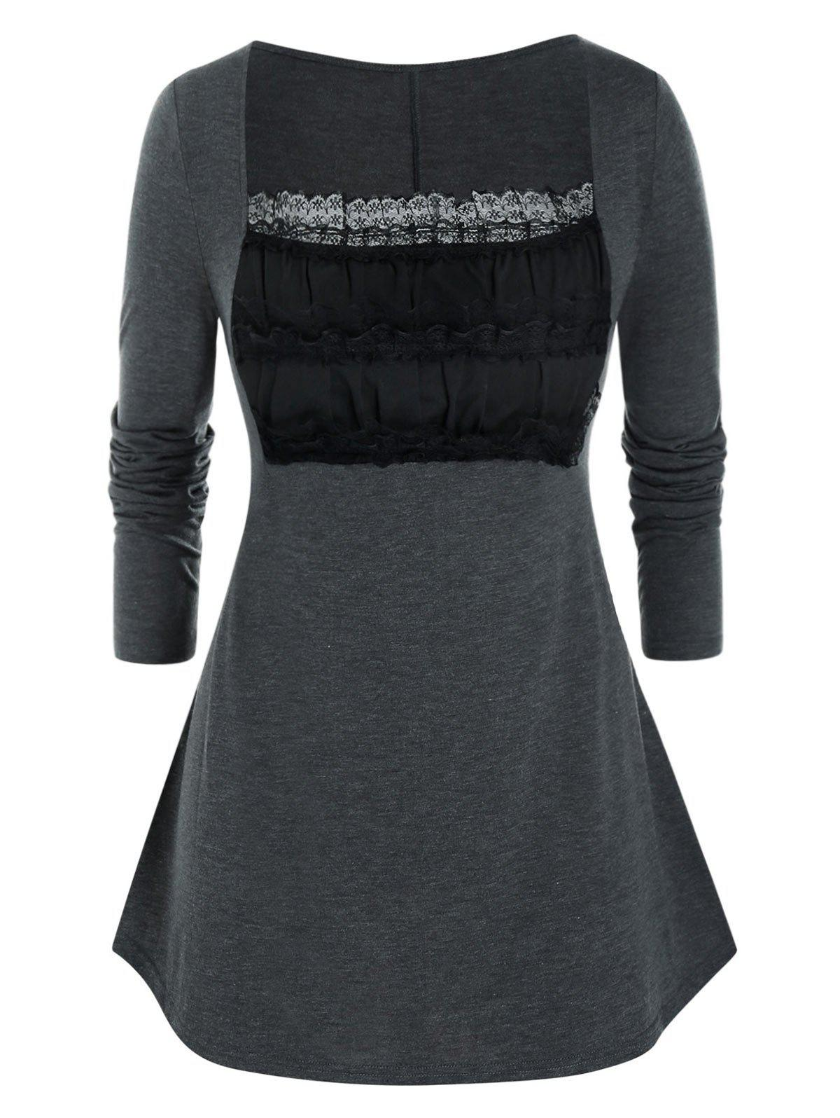 Discount Plus Size Lace Ruched Bust Square Neck Tunic Tee