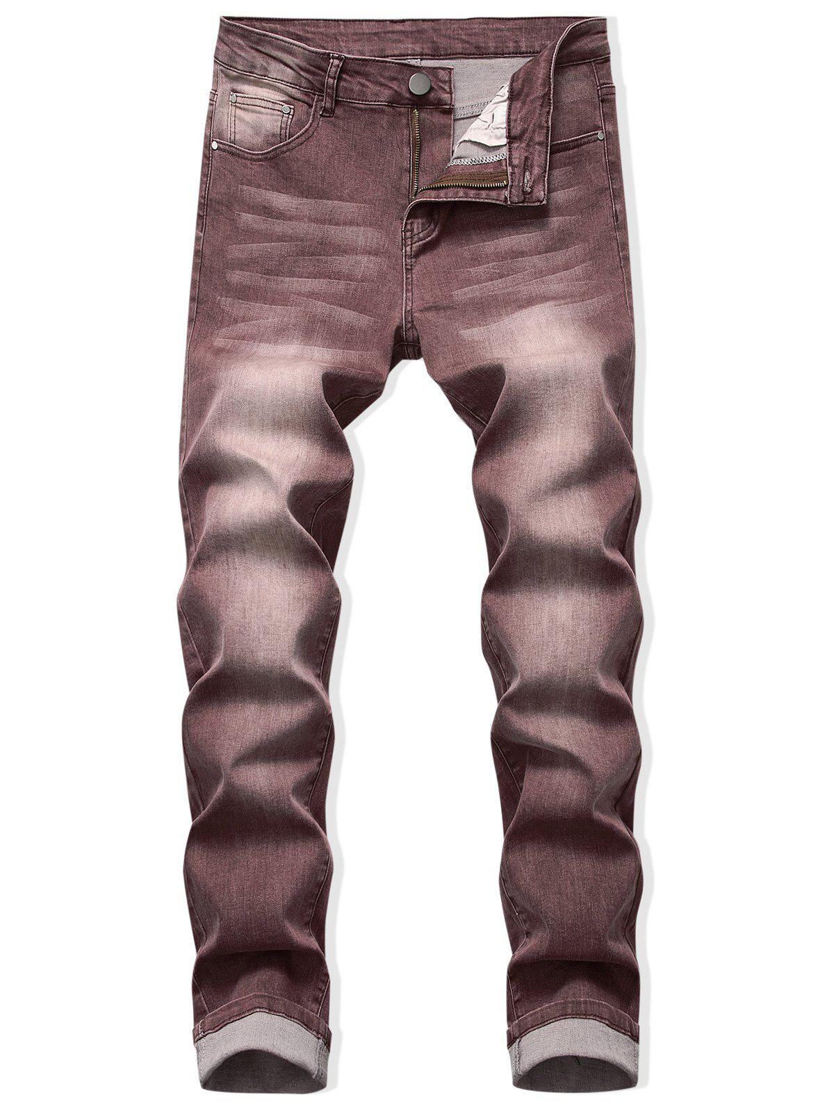 Zip Fly Long Faded Wash Casual Jeans