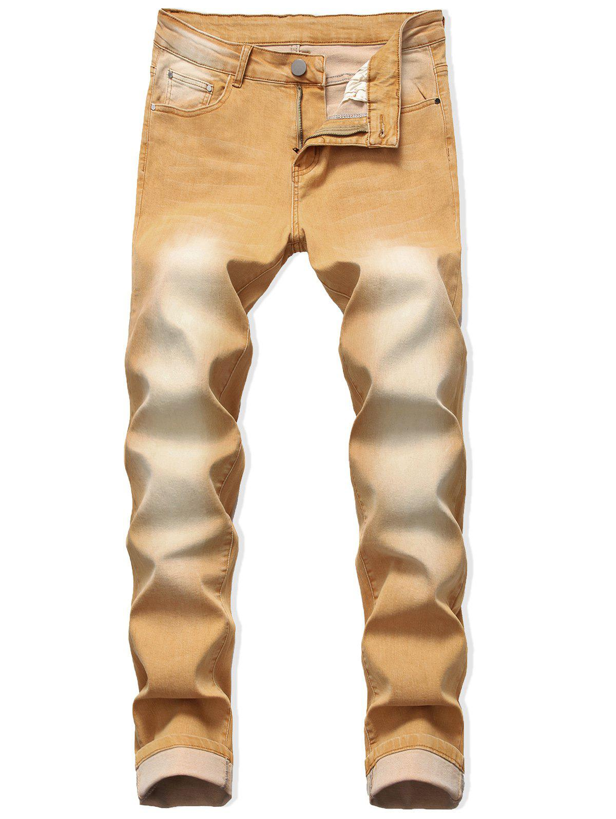 Shop Zip Fly Long Faded Wash Casual Jeans