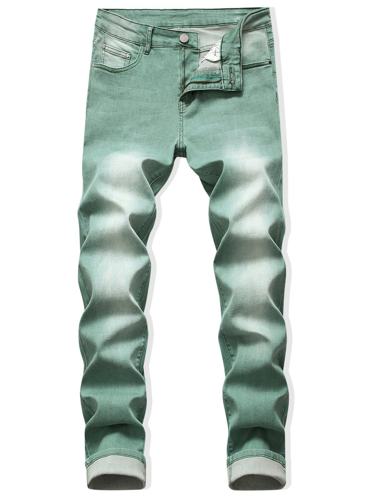 Online Zip Fly Long Faded Wash Casual Jeans