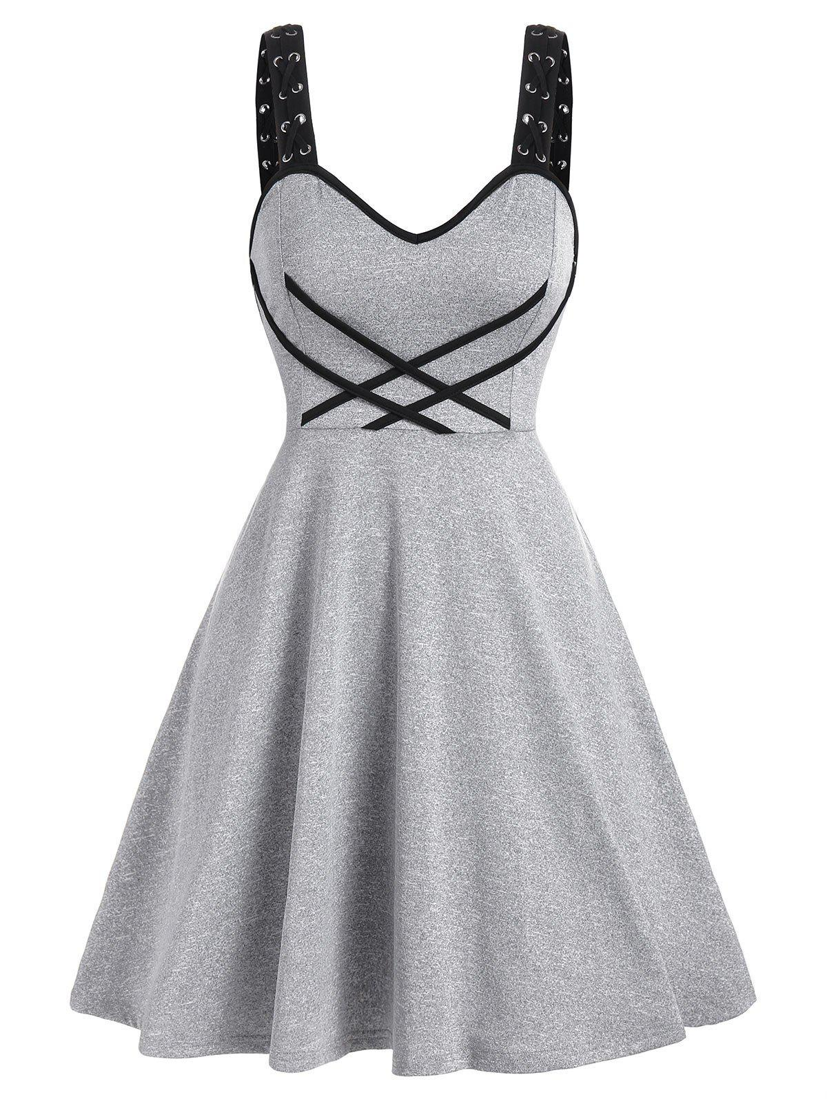 Shops Contrast Crisscross Cami A Line Dress