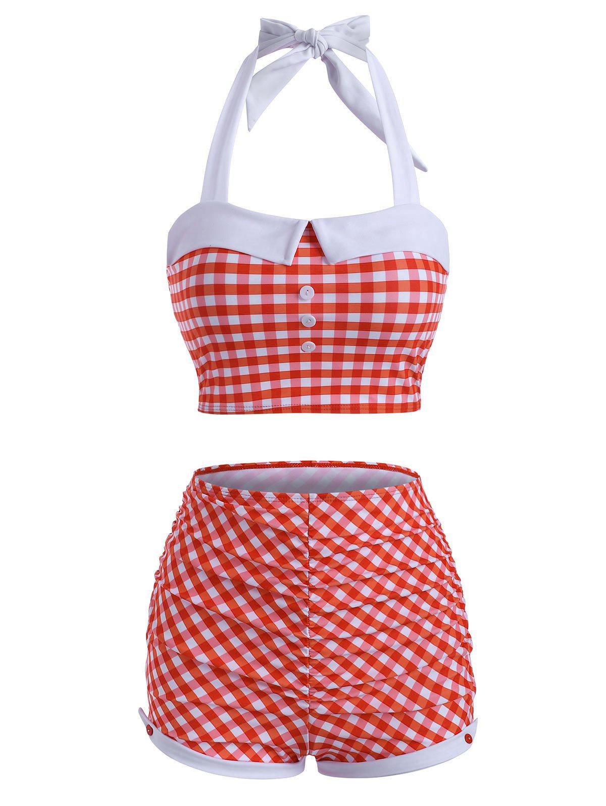 Cheap Halter Gingham Ruched Boyshorts Tankini Swimwear