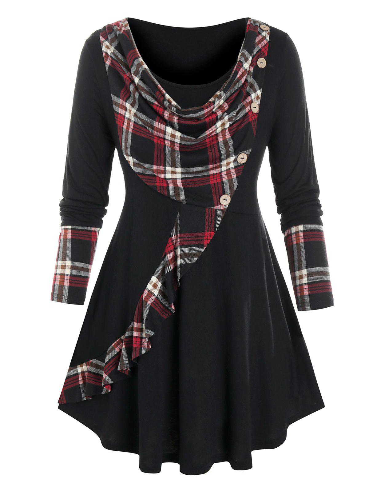 Hot Plus Size Cowl Front Plaid Curved Hem Tunic Tee