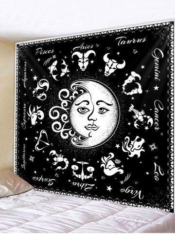 Horoscope Moon And Sun Pattern Wall Tapestry - BLACK - W91 X L71 INCH