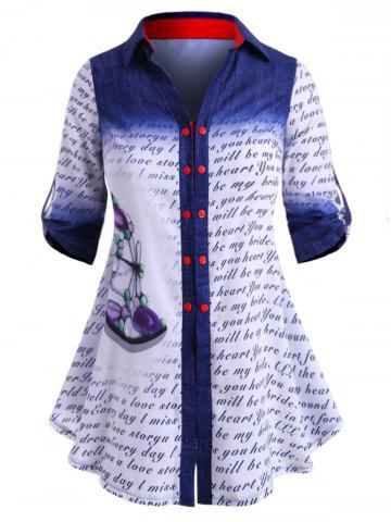 Double Breasted Dragonfly Letter Printed Plus Size Shirt