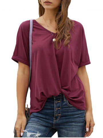 Twisted Hem Rolled Cuff Batwing Sleeve T-shirt - RED - S