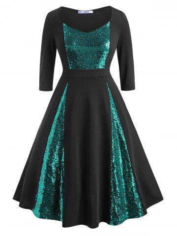 Scoop Sequins Panel Plus Size Prom Dress - GREEN - 1X
