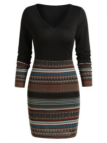 Tribal Print V Neck Mini Bodycon Dress