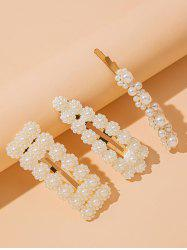 3 Piece Faux Pearl Embellished Hair Barrettes Set -