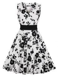 Floral Surplice-front Sleeveless Dress -