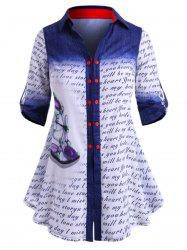 Double Breasted Dragonfly Letter Printed Plus Size Shirt -