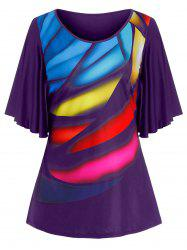 Plus Size Colorful Print Butterfly Sleeve Tunic Tee -