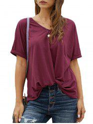 Twisted Hem Rolled Cuff Batwing Sleeve T-shirt -