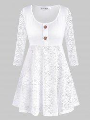 Mock Buttons Lace Panel Plus Size Tunic Top -