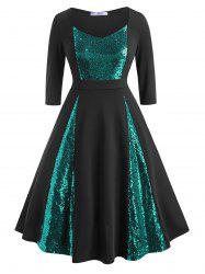 Scoop Sequins Panel Plus Size Prom Dress -
