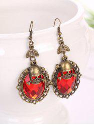 Gothic Halloween Faux Crystal Skull Earrings -