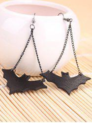 Halloween Leather Bat Chain Earrings -