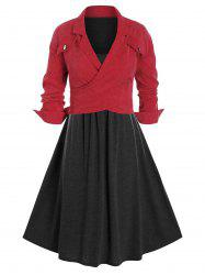 Plus Size Tank Midi Dress and Corduroy Lapel Jacket Set -