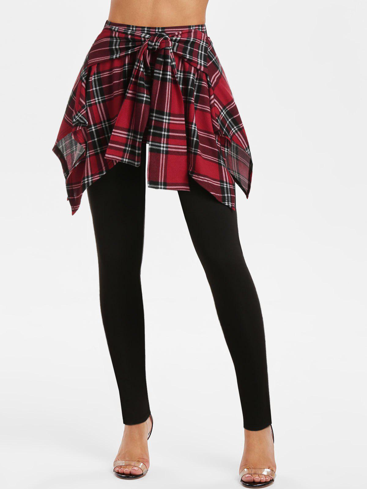 Store Tie Front Plaid Print Skirted Pants